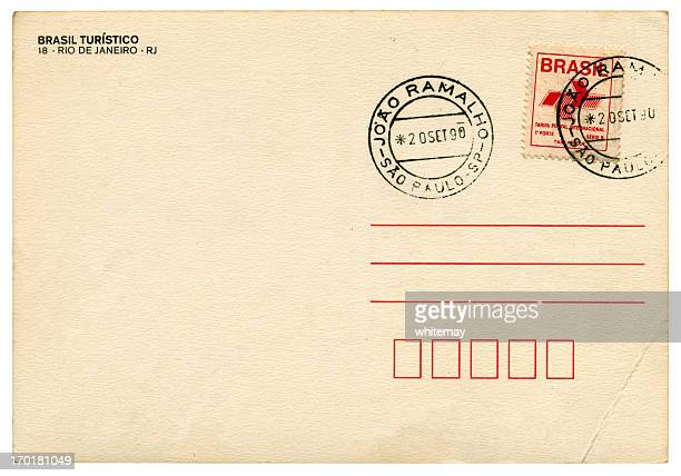 blank postcard from joao ramalho, sao paulo, brazil, 1990 - postage stamp stock pictures, royalty-free photos & images