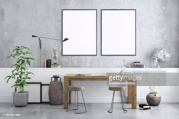 blank poster frame home office interior background template - template stock pictures, royalty-free photos & images