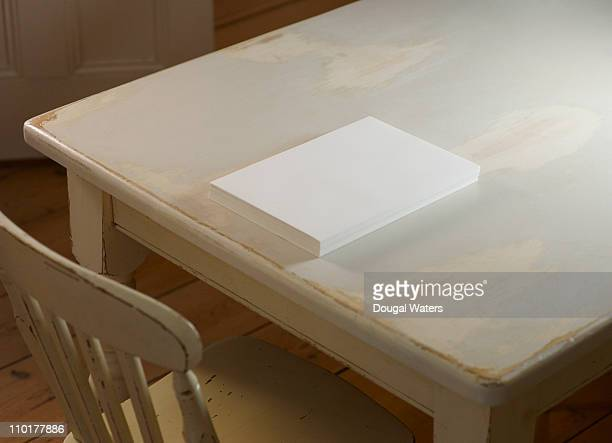 Blank realm of paper on table