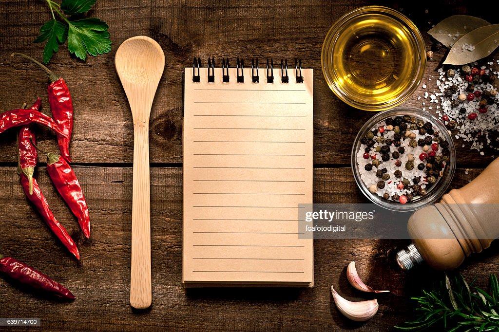 ハーブとスパイスの空白のレシピ本 : ストックフォト