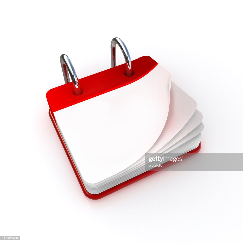 A blank red and white calendar graphic : Stock Photo