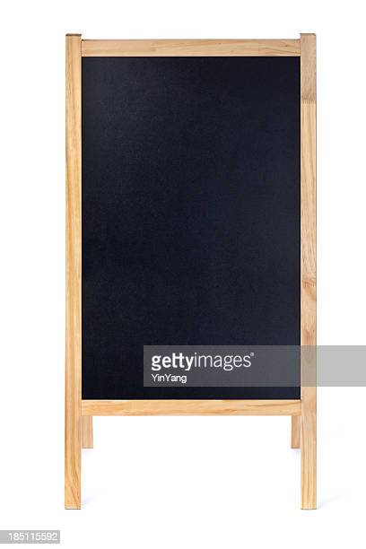 blank restaurant menu blackboard sign easel frame with copy space - blackboard stock photos and pictures