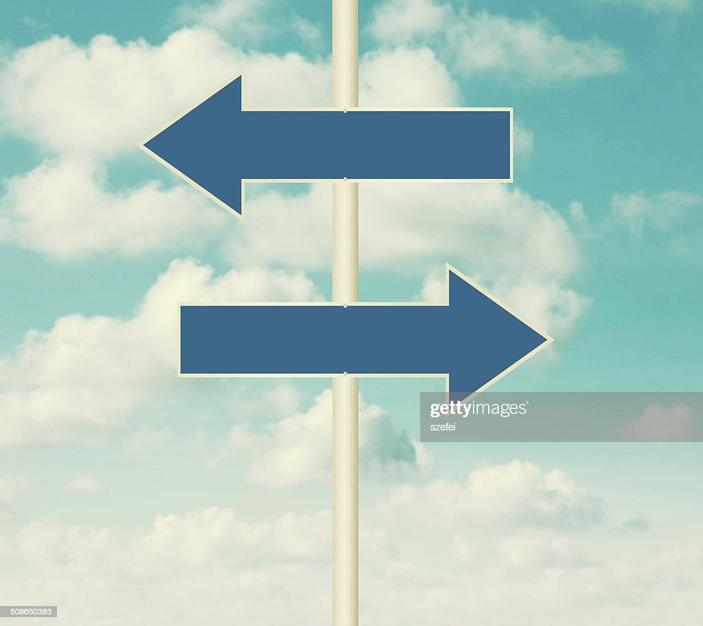Blank road signs pointing in opposite directions : Stock Photo
