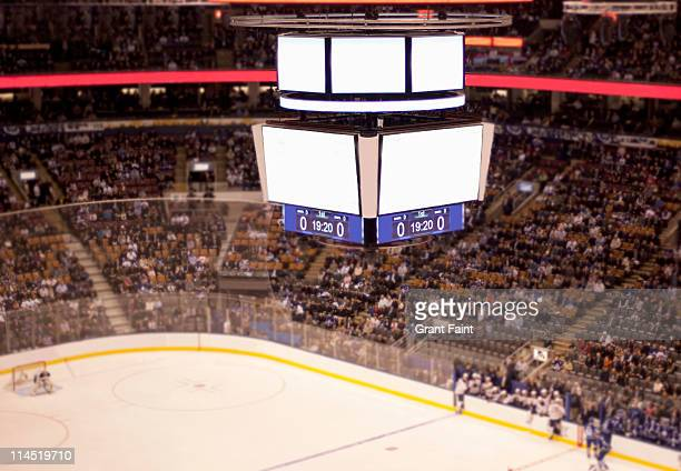 blank scoreboard at hockey game. - scoreboard stock pictures, royalty-free photos & images