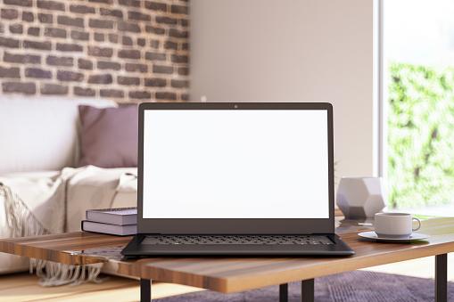Blank Screen Laptop in Living Room 1140137769