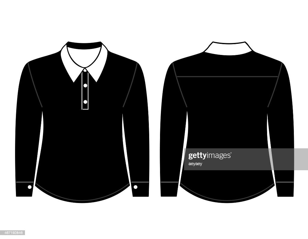 Blank Shirt With Long Sleeves Template Stock Photo