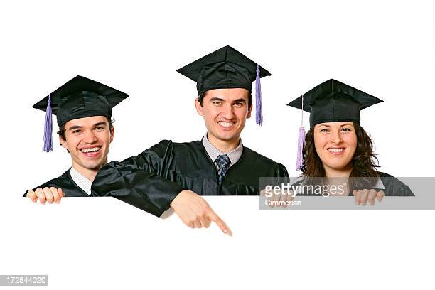 blank sign - graduates (on white) - alumni stock pictures, royalty-free photos & images