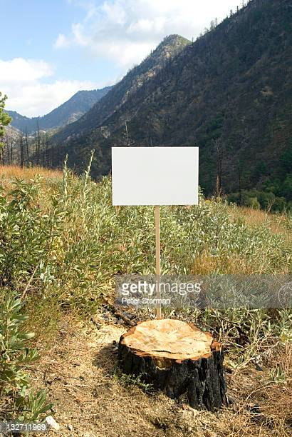 Blank sign in a deforested land scape.