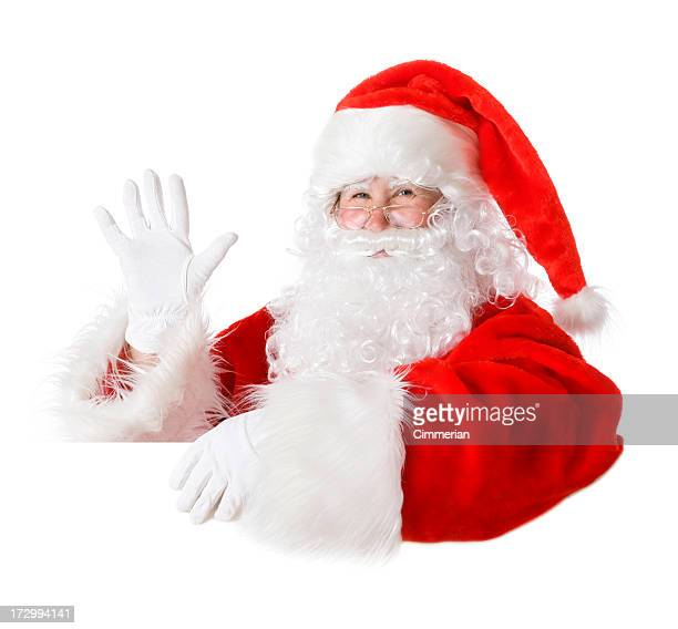 blank sign - santa (on white) - waving stock pictures, royalty-free photos & images