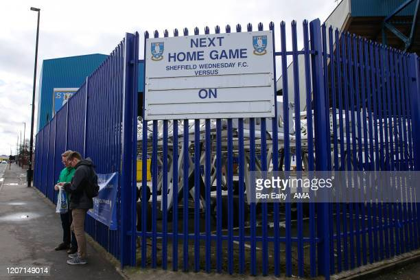 MARCH A blank sign showing the next home game at Hillsborough stadium the home of Sheffield Wednesday on March 14 2020 in Sheffield England The...