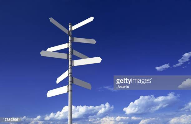 Blank signpost on a blue sky background