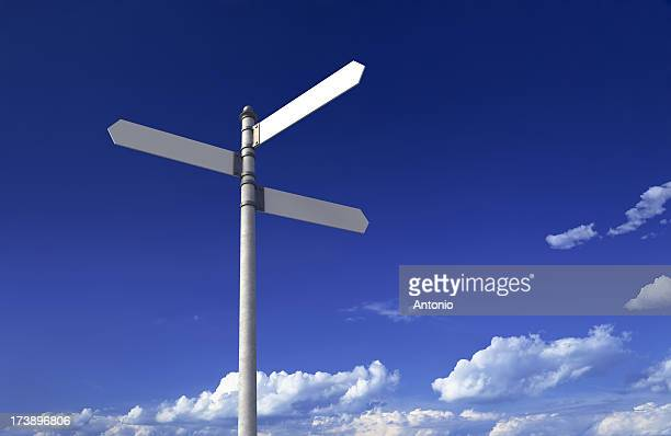 blank signpost - three objects stock pictures, royalty-free photos & images