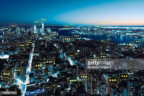 blank space for text on city and sky background with bubble chat ,business analysis and strategy as concept - community icon stock pictures, royalty-free photos & images