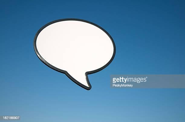 Blank Speech Bubble Outdoors in Blue Sky