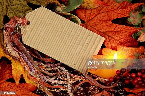 Blank Tag with Autumn Leaves and Candle