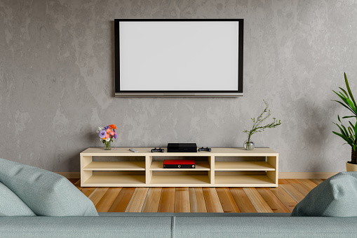 Blank Television Set Mounted On Wall At Home - gettyimageskorea