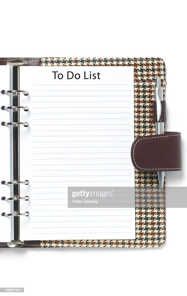 Blank to do list in diary : Stock Photo