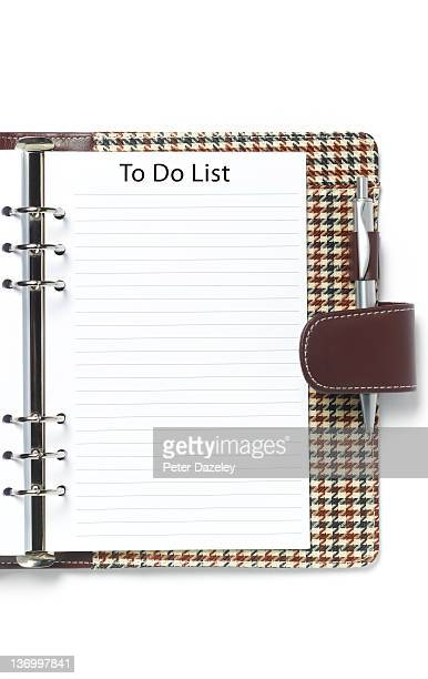 Blank to do list in diary