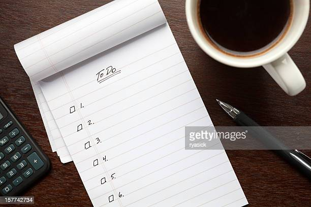blank to do list notepad on desk from above - list stock pictures, royalty-free photos & images