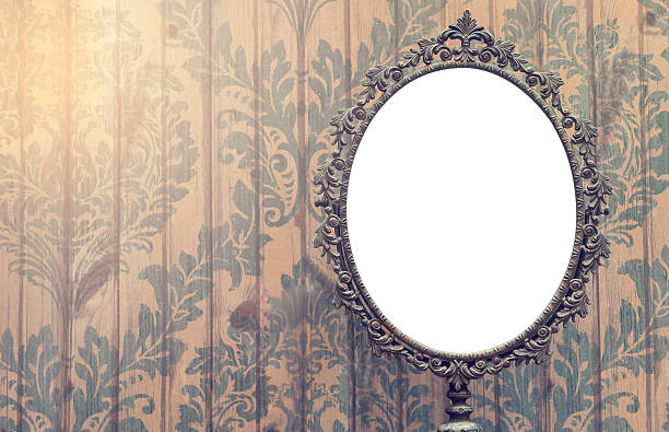 Blank Vintage Mirror Photo Frame With Copy Space