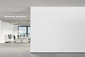 Blank wall in modern office