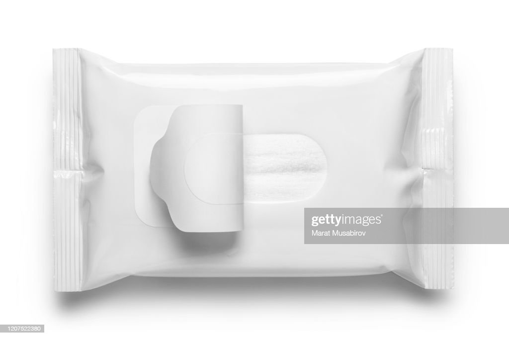 Blank wet wipes flow pack on white : Stock Photo