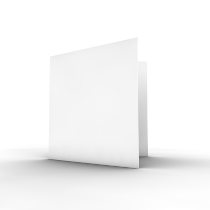 Blank white bifold brochure on white 182824430