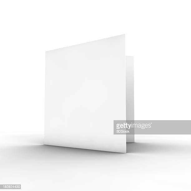 blank white bifold brochure on white - template stock pictures, royalty-free photos & images