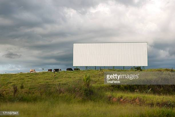 a blank white billboard in the middle of a field - rural scene stock pictures, royalty-free photos & images