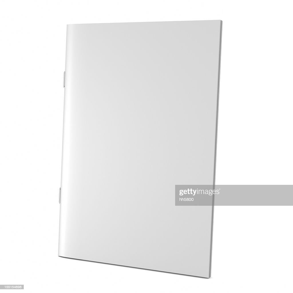 A blank white book cover on white : Stock Photo