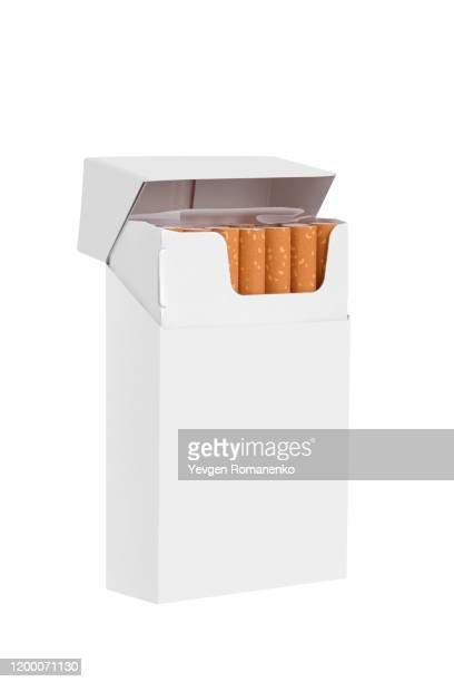 blank white cigarette package isolated on white background with copy space - cigarette pack stock pictures, royalty-free photos & images