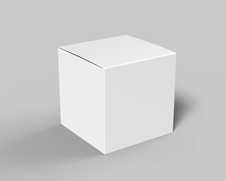 Blank white cube product packaging paper cardboard box. 3d render illustration. 909031750