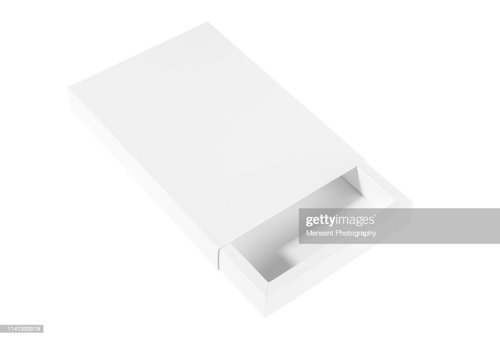 Blank white empty Box Template isolated over white background : Stock Photo