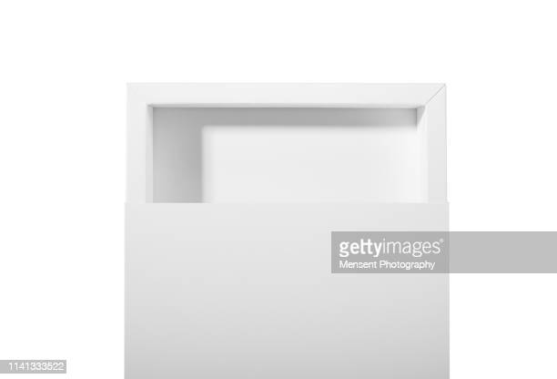 Blank white empty Box Template isolated over white background