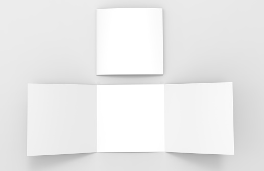 Blank white empty square tri fold catalogs brochure flyer, with clipping path, changeable background for mock up and template design. 3d render illustration. 839081724
