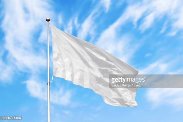 blank white flag against blue cloudy sky - flag stock pictures, royalty-free photos & images
