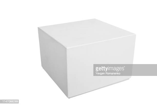 blank white gift box on white background - caja de regalo fotografías e imágenes de stock