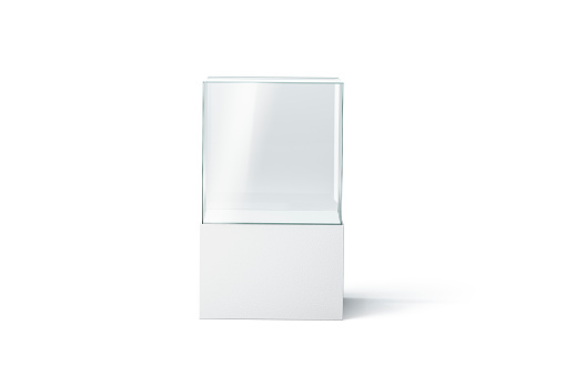 Blank white glass showcase mockup, isolated, front view 1066918312