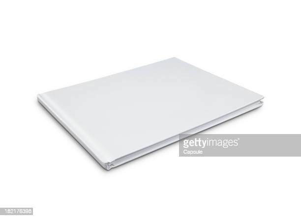 A blank, white hardcover book on a white background