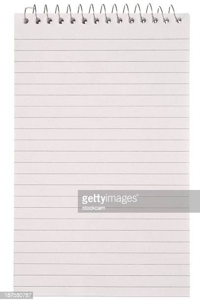 Blank white lined note pad