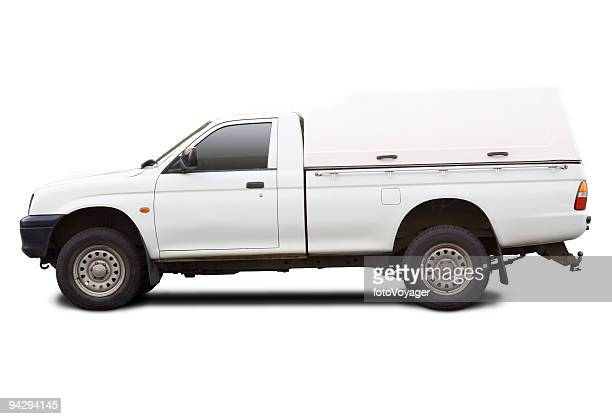 Blank white pick up truck with clipping paths