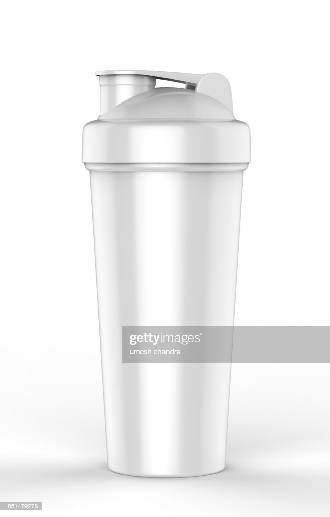 blank white plastic shaker bottle for mock up and template design 3d render illustration