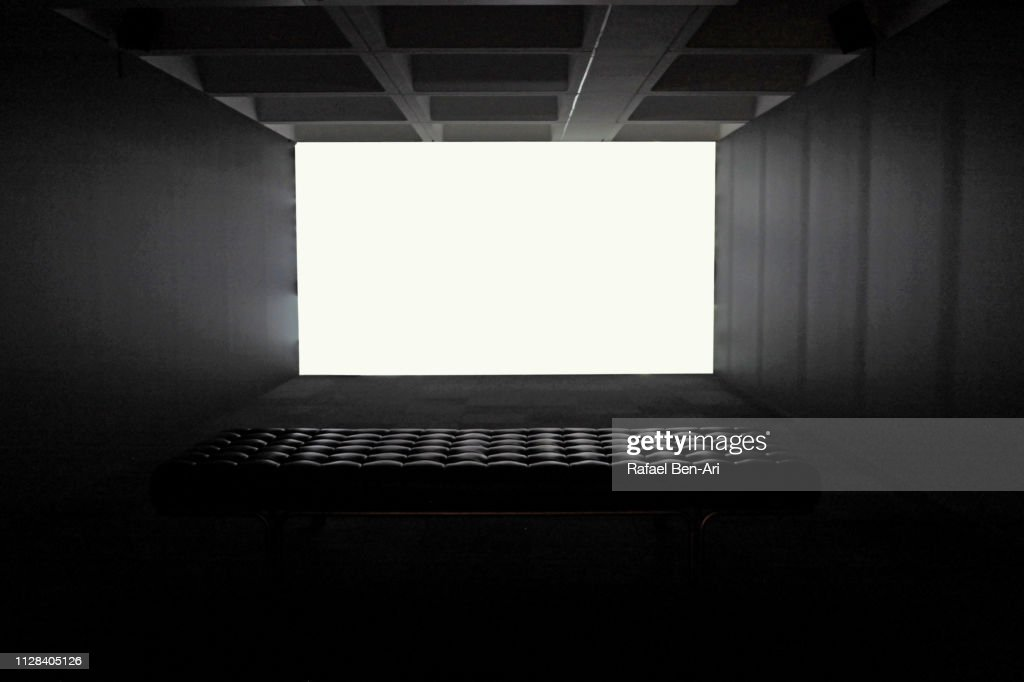 Blank white Screen in an Empty Concrete Room : Stock Photo