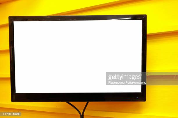 led tv blank white screen on the yellow wall - hd format stock pictures, royalty-free photos & images