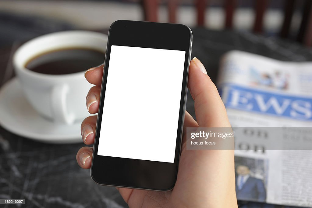 Blank white screen smart phone : Stock Photo