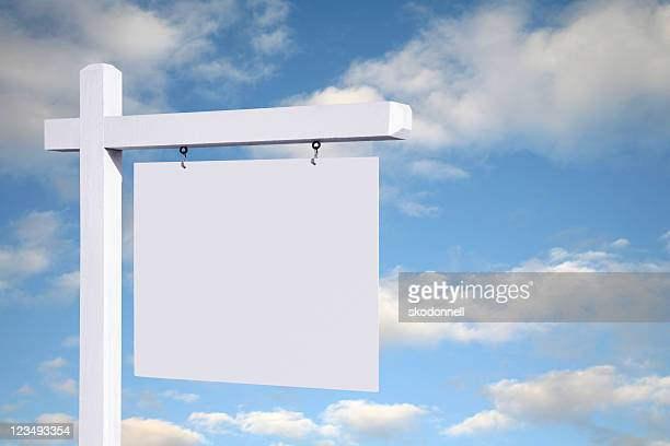 blank white sign with clouds background - estate agent sign stock pictures, royalty-free photos & images