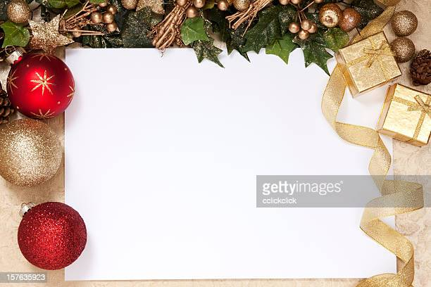 A blank white space surrounded by Christmas decorations