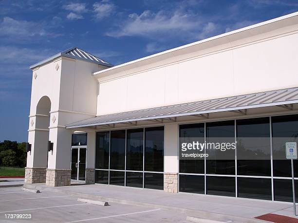 Blank White Storefront Corner Landscape
