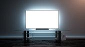 Blank white tv screen interior in darkness mockup