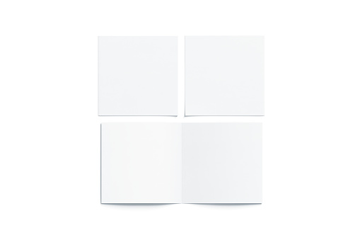 Blank white two folded square booklet mock up, opened closed 936428194